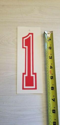 """# 1 Old school BMX Rouge /& Blanc Numéro Numéro De Plaque GT Redline new old stock 6/"""""""