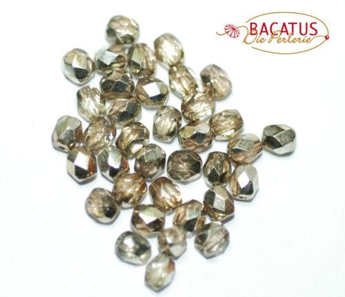 Glasperlen 4mm oval 50 Perlen pro Packung *BACATUS* Glasschliffperlen böhm