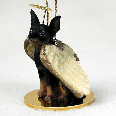 Mini Pinscher Dog Figurine Angel Statue Black/Tan
