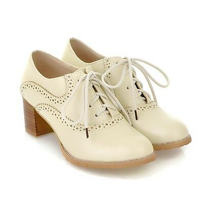 US4-11 Plus sz Brogue Women's Lace Up Oxfords Retro Mid Chunky Heels Wing Tip