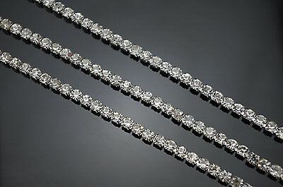 10 Yard Clear Crystal Silver Plated Rhinestone Close Rhinestone Chain Clear Trim