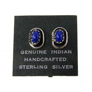 Indian Handcrafted Sterling Silver Lapis Earrings by Roselene Joe