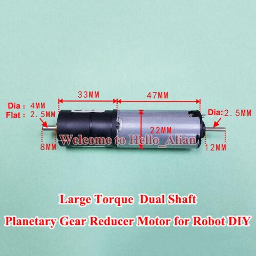 22MM DC12V 60RPM Bühler Planetary Gearbox Reducer Motor Dual Shaft DIY Robot Car