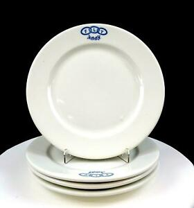 SYRACUSE-CHINA-ODD-FELLOWS-4-PIECE-FLT-IOOF-9-034-WHITE-LUNCHEON-PLATES-1900-039-s