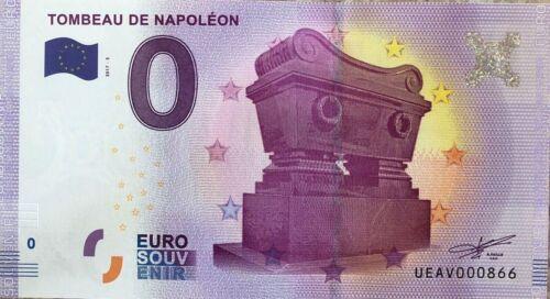 0 Zero Euro Note Tomb of Napoleon Year 2017