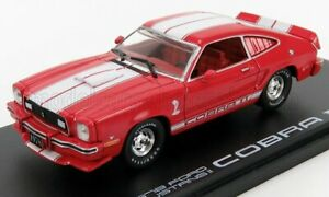 GREENLIGHT 1/43 FORD USA   SHELBY MUSTANG II COBRA II COUPE 1976   RED WHITE