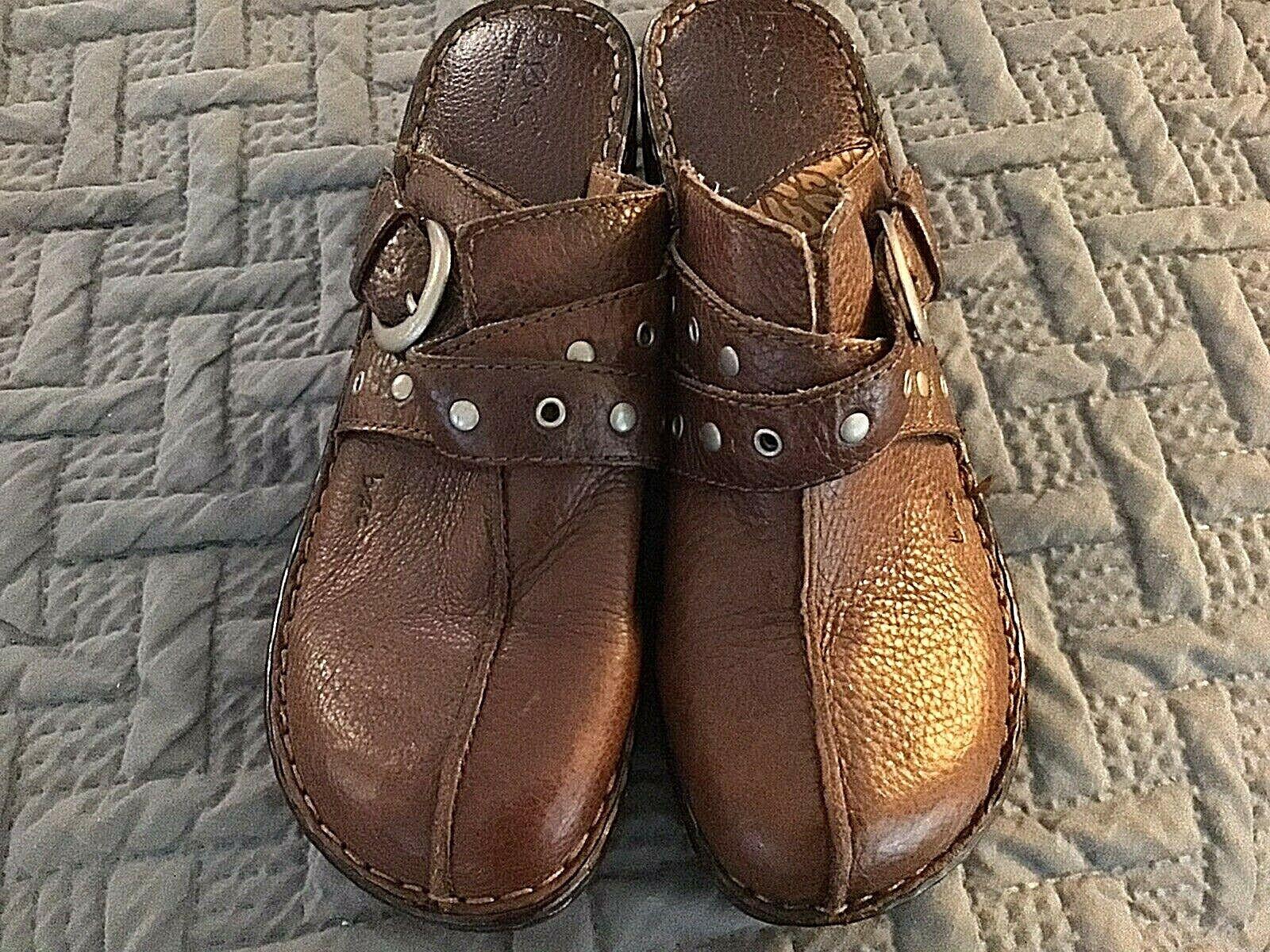 BOC Born Concept Womens Sz US10 EUR 42 Brown Leather Clogs