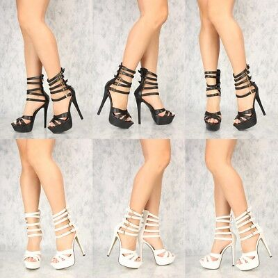 Caged ankle Mid Calf Stiletto High Heels Platform Pumps Booties Dancer shoes H18