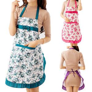 Women Lady Dress Restaurant Home Kitchen Cooking Apron Bib Floral Pattern Showy