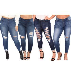 Hot Women Plus Size Fashion High Waist Rub Holes Stretch Jeans