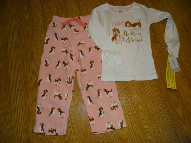 Carters Girls I Love Bedtime Stories Pajama Sleepwear Puppy Dog Size 4