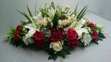 Silk flowers, grave wreath, realistic funeral spray, memorial lilies & roses