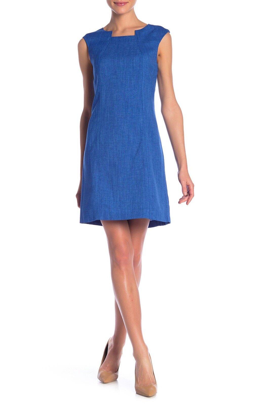 NWT Tahari Grasscloth Pintuck Neck Cap Sleeve Texturot Sheath Dress Blau