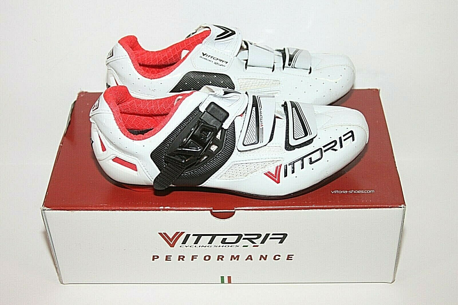 Men's Vittoria Speed Road shoes White Red Cycling shoes ITALY Sz 40   7.5 US NIB
