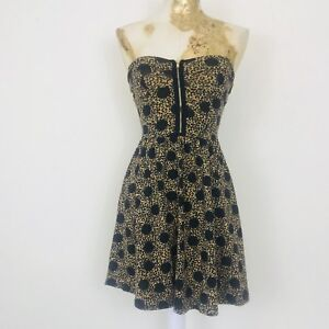 Topshop-Petite-Animal-Print-Strapless-Skater-Dress-4-Fit-And-Flare-Party-Holiday