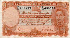 1939 Australia R12 Ten Shillings  Sheehan/McFarlane  aVF S/N F/11 450299
