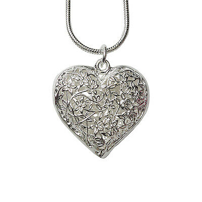 Silver Plated Filled Hollow Flower Heart Vintage Pendant Necklace