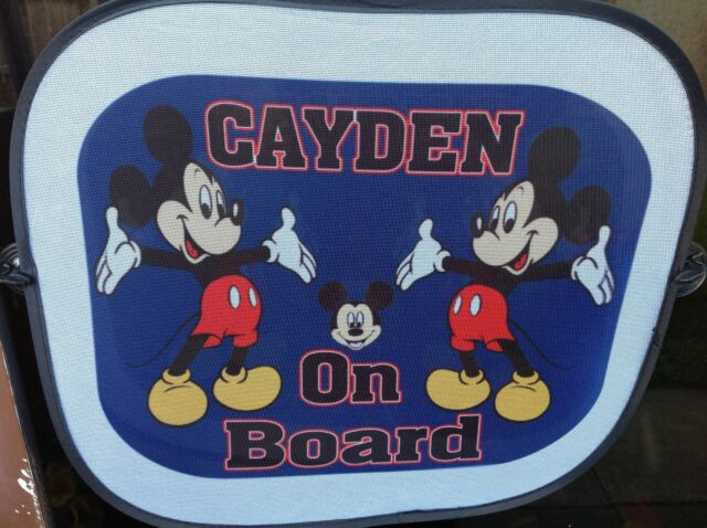 Personalised Car Sun shade with name on board  Mickey Mouse