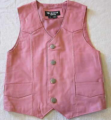 GIRLS TODDLERS KIDS SOFT PINK BIKER MOTORCYCLE WESTERN LEATHER VEST EXTRA SMALL