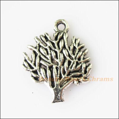 8Pcs Antiqued Silver Tone Tree Branch Leaf Charms Pendants 16x20mm