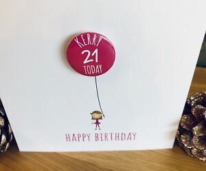 Handmade-Personalised-Badge-Birthday-Card-Any-Name-Any-Age-Pink-Girl
