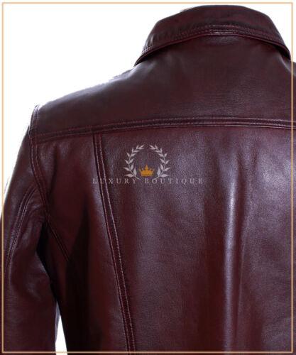 Convoy Maroon Men/'s Trucker Casual Designer Real Lambskin Leather Shirt Jacket