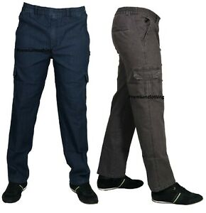 Mens-Denim-Combat-Cargo-Stretch-Jeans-Elasticated-Work-Wear-Chino-Pants-Bottoms