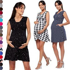 e2994e685f5bf Happy Mama. Women's Maternity Nursing 2in1 Skater Dress Sleeveless ...
