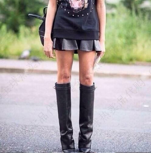 Women Fold-Over Knee-High Boot Party Casual Real Leather Wedge Heel Runway Shoes
