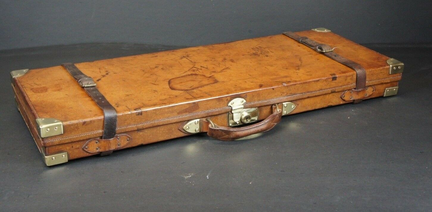 Beautiful Oak Lined Antique Leather Gun Case by Finnigans