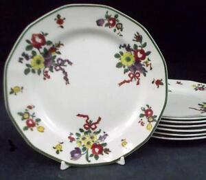 Royal-Doulton-OLD-LEEDS-SPRAY-7-Bread-amp-Butter-Plates-D3548-VERY-GOOD-CONDITION
