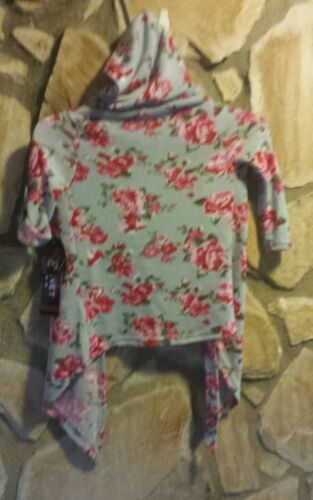 "/""PINK VELVET/"" Toddler Girls Floral Loose Hoodie Cardigan Sweater Jacket #GC2//3"