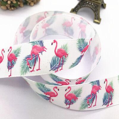 "DIY 5Yards 1/""25mm Printed Flamingos pattern Grosgrain Ribbon Hair Bow Sewing#152"
