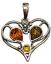 thumbnail 1 - Heart Pendant Genuine Baltic Cognac Brown Amber 925 Sterling Silver  # 51