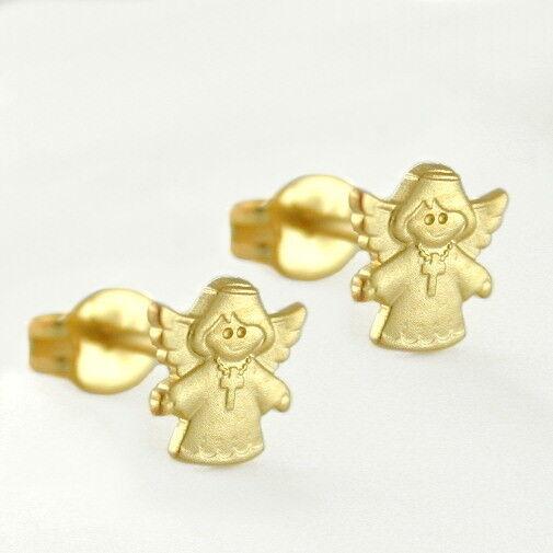 Mädchen Schutz Engel offene Arme Ohrstecker Kinder Ohrringe aus Echt Gold 585