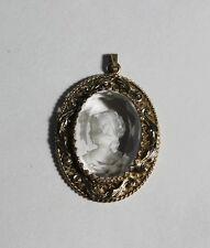 Vintage Intaglio Clear Glass Cameo Gold Tone Ornate Filigree Pendant