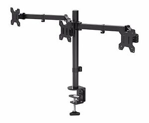 """Triple Arm Desk Mount LCD LED Computer Monitor Bracket Stand 13""""-24"""" Screen TV 618423692148"""