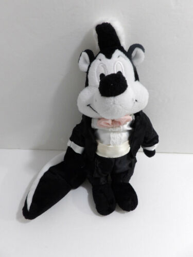 "10"" Warner Bros Looney Tunes Plush Bean Filled Pepe Le Pew Skunk with Tuxedo"