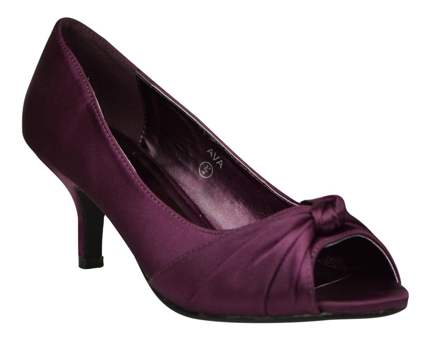 Para mujer púrpura Raso de Boda Baile de graduación Noche Noche Noche Fiesta Corte Tacón Bajo Punta Abierta Zapatos  promociones de equipo