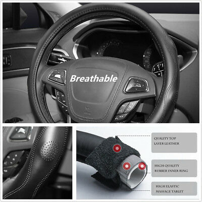 38cm Comfort Bump Massage Pattern Car Steering Wheel Cover Durable Real Leather
