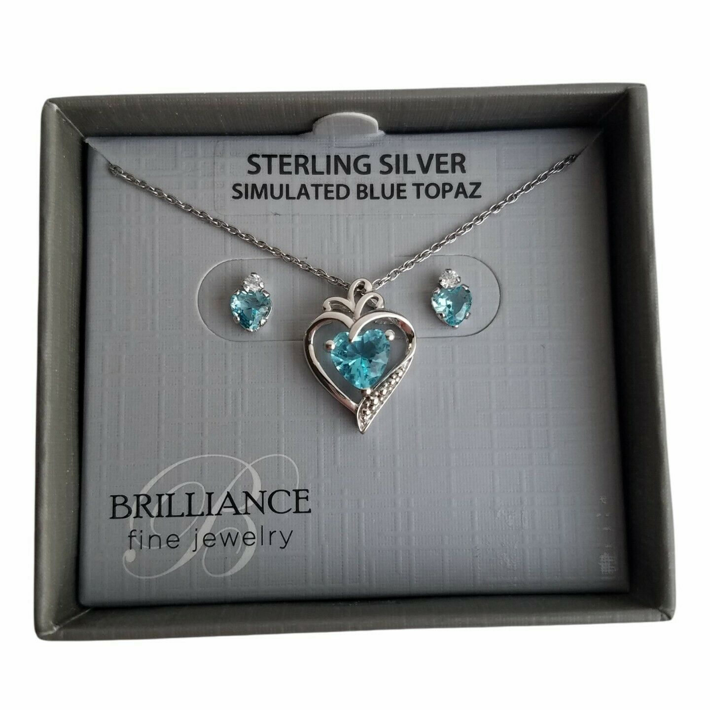 Brilliance Sterling Silver Simulated Topaz Necklace Earrings set Heart Blue