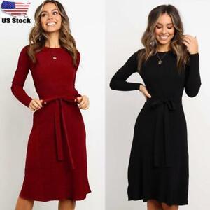 Womens Waist Tie Midi Jumper Dress Ladies Long Sleeve Casual T-shirt Dresses US