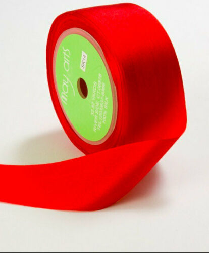 "3 yards May Arts RED Silk Ribbon 1.25/"" wide"