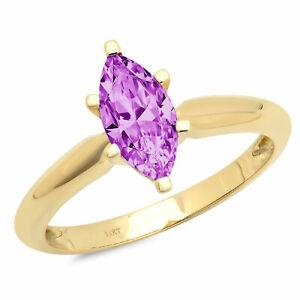 1 ct Marquise Cut Alexandrite Stone Wedding Bridal Promise Ring 14k Yellow...
