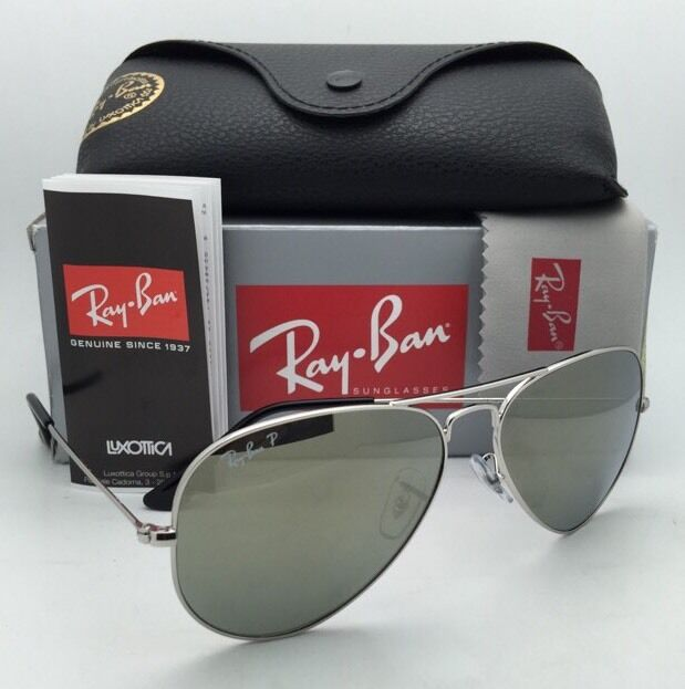030d017005b8a Ray-Ban P Aviator Classics Large Metal Polarized Sunglasses Silver Rb3025  003 59 for sale online