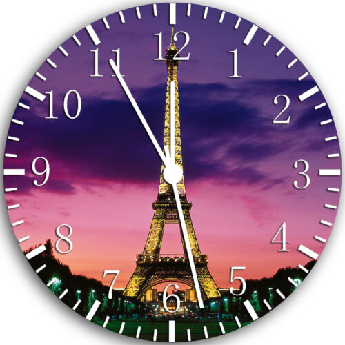 Paris Eiffel Tower Frameless Borderless Wall Clock Nice For Gifts or Decor W109