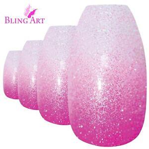 False-Nails-Pink-Gel-Ombre-Ballerina-Coffin-Bling-Art-Fake-Acrylic-Tips-2g-Glue