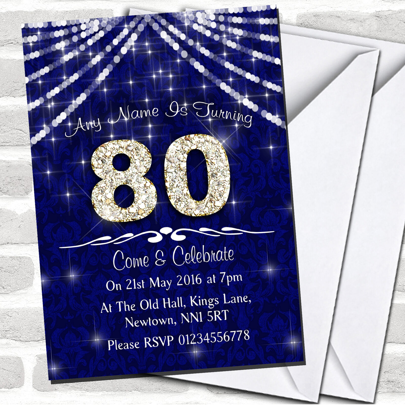 80Th blancoo y Azul Marino Bling Sparkle Invitaciones de Fiesta de Cumpleaños