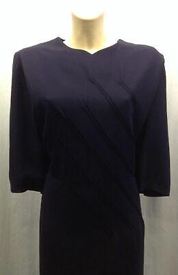 40s Elegante 'evanna' Vestito Blu Con Grande Scollatura E Dettaglio Cucitura Diagonale.- I Clienti Prima Di Tutto
