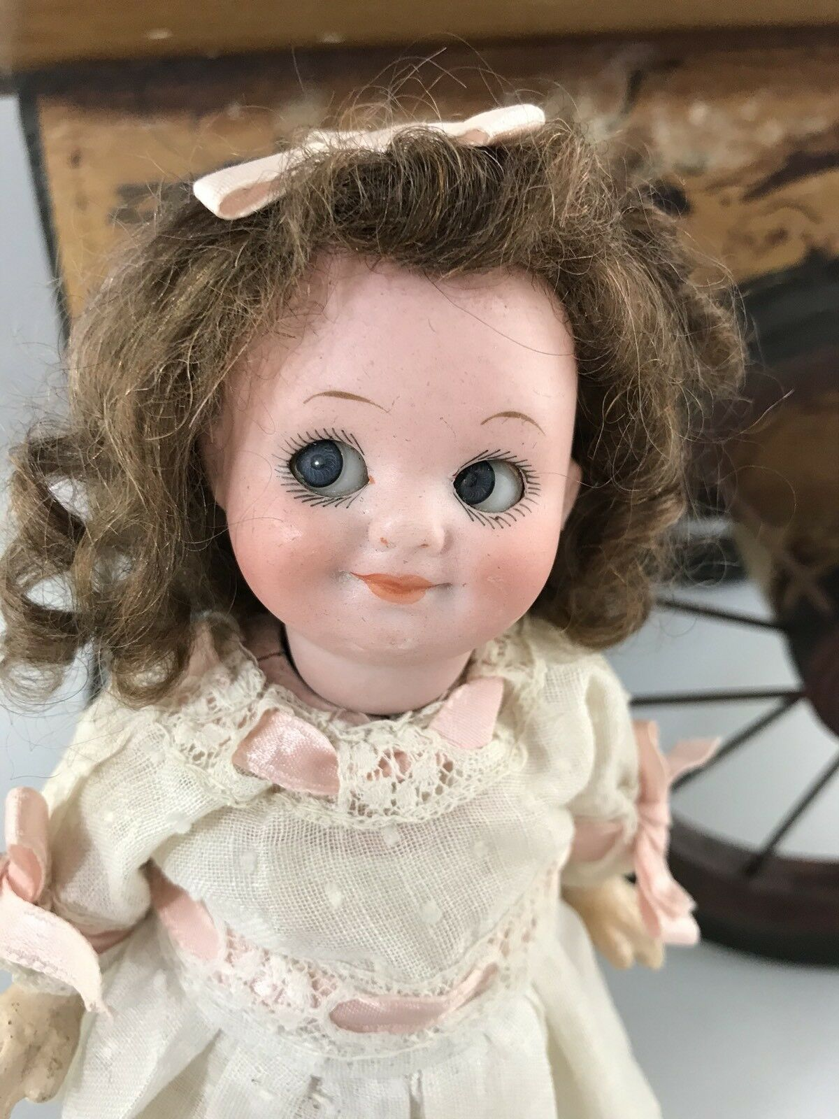 "7"" Antique German Bisque Head Googly Doll A M 323"